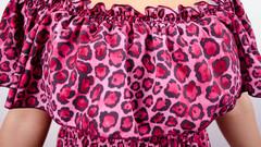 Ксения. Нежный сарафан больших размеров. Леопард.