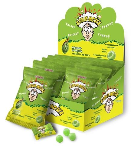 ВЗРЫВ МОЗГА карамель со вкусом зеленого яблока в пакете, 1кор*12бл*24шт 15г