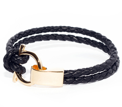 Браслет Nialaya Black Leather Bracelet with Gold Hook Closure