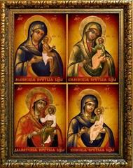 Четырехчастная икона Божьей Матери на холсте: Долинская, Виленская, Далматская, Венская.