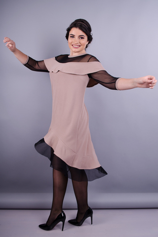 Ліка. Жіноча сукня плюс сайз. Бежевий.