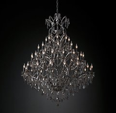 19th C. Rococo Iron & Smoke Crystal Round Chandelier 60
