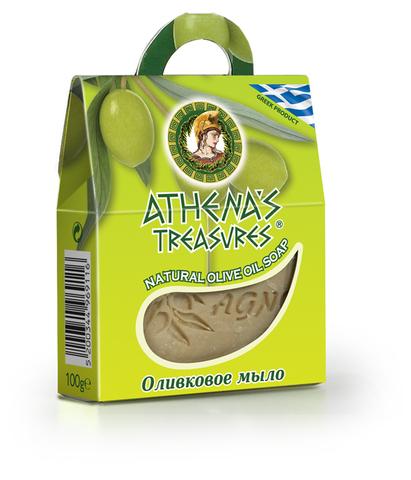 Оливковое мыло натуральное в подарочной упаковке Athena's treasures 100 гр