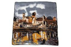 Итальянский платок из шелка серый картина 0677