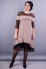 Лика. Женское платье плюс сайз. Бежевый.