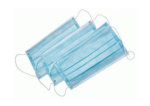 Маска 3-слойная на резинках (Спанбонд, голубой, 100 шт/упк)