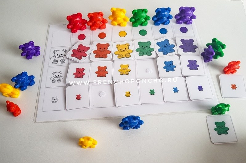 Сортировка мишек  по цвету и размеру с фигурками. Развивающие пособия на липучках Frenchoponcho (Френчопончо)
