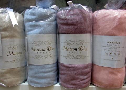Простынь на резинке махровая с наволочками DUZ однотонная Maison Dor Турция