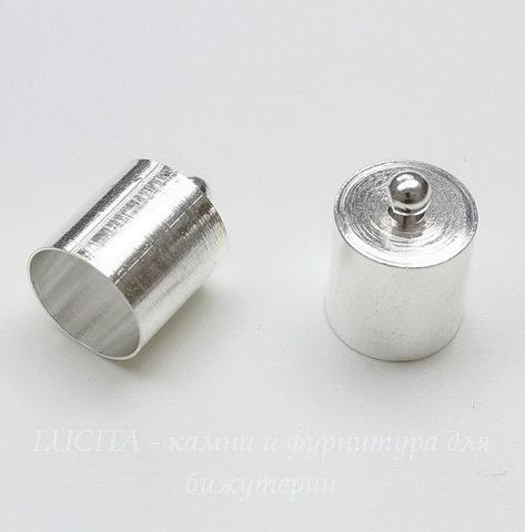 Концевик для шнура 9,5 мм, 14х10 мм (цвет - серебро) (1)