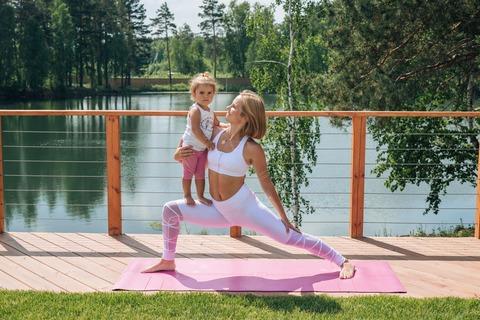 Каучуковый йога коврик YC Pink c разметкой 185*68*4,5см