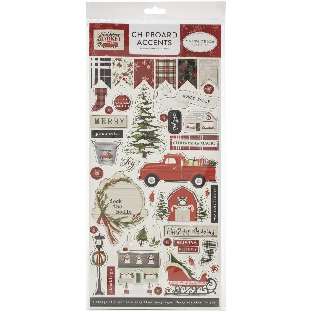 Чипборд Christmas Market Chipboard -Accents -15х30см