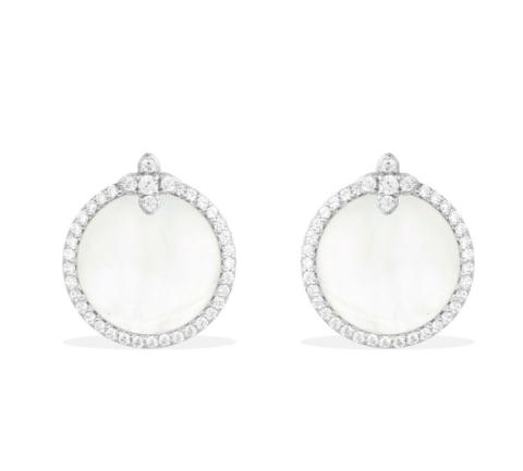 Серьги круглые из серебра с перламутром стиле APM MONACO