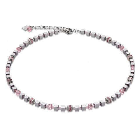 Колье Coeur de Lion 4857/10-1900 цвет серый, серебряный,розовый, прозрачный