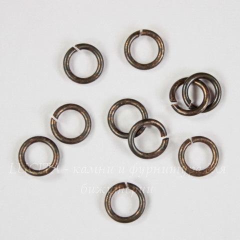 Винтажное колечко одинарное 5,7х1 мм (оксид латуни), 10 шт