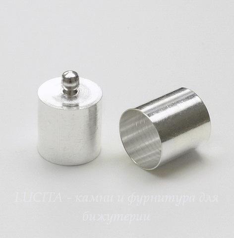 Концевик для шнура 9,5 мм (цвет - серебро) 14х10 мм