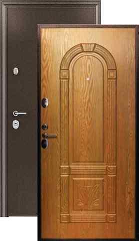 Тёплая дверь входная Страж 3K-3D, 2 замка, 1,5 мм  металл, (медь антик+миланский орех)
