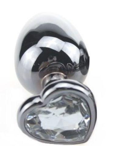 Серебристая пробка с прозрачным кристаллом-сердечком - 9 см.