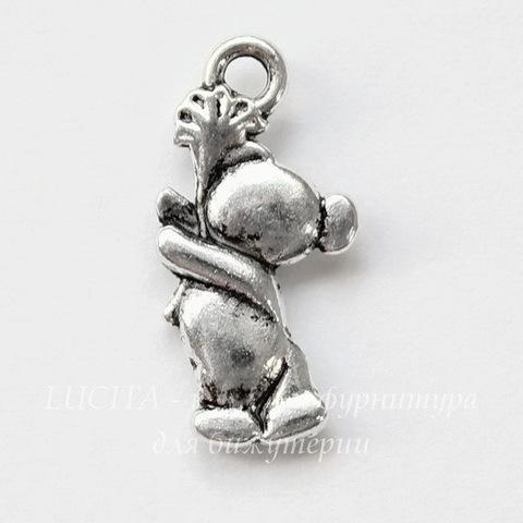 """Подвеска """"Мишка с цветком"""" 20х10 мм (цвет - античное серебро)"""