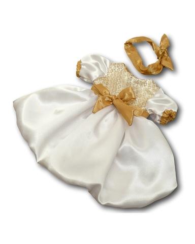 Платье шелковое - Белый / бежевый. Одежда для кукол, пупсов и мягких игрушек.