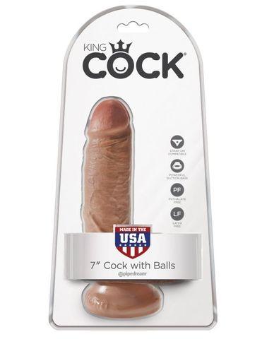 Фаллоимитатор на присоске загорелый King Cock 7 Cock with Balls фото