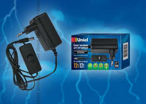 UET-VPA-012A20 Блок питания для светодиодов с вилкой, 12 Вт, 12В, IP20