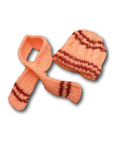 Шапка и шарф - Розовый / полоска. Одежда для кукол, пупсов и мягких игрушек.
