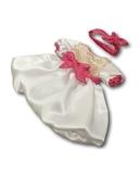 Платье шелковое - Белый / розовый. Одежда для кукол, пупсов и мягких игрушек.