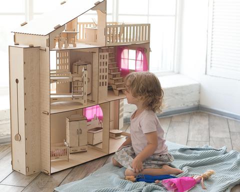 Дом для барби с лифтом и мебелью