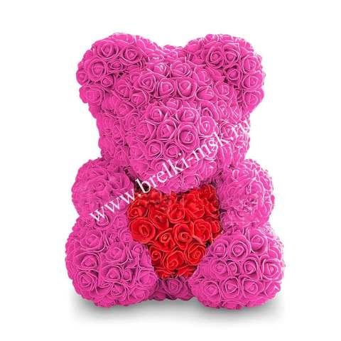 Розовый мишка из 3D роз с сердцем 40 см.