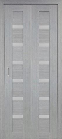 > Экошпон складная Optima Porte Турин 507.12  (2 полотна), стекло матовое, цвет дуб серый, остекленная
