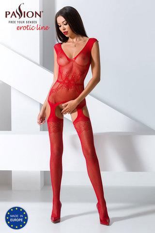 Красивый бодистокинг сетка красного цвета