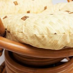 Кресло-качалка FLORES / с матрасом / два тона, каркас: темный мед ( темное плетение )
