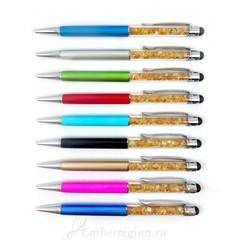 Ручка-стилус с янтарем (серебристая)