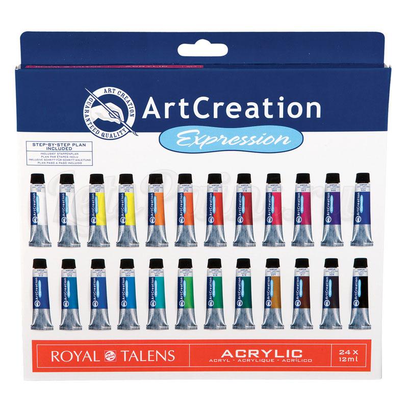 Набор акриловых красок ArtCreation - 24 цвета в тубах по 12мл