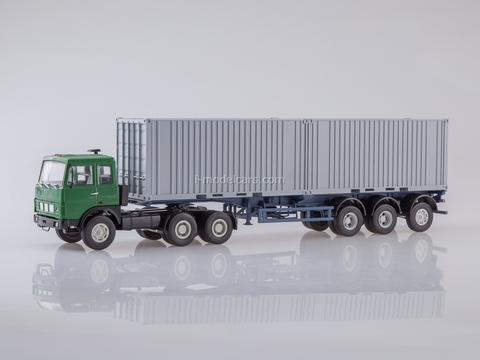 MAZ-6422 with semitrailer-container-carrier MAZ-938920 green-gray 1:43 AutoHistory