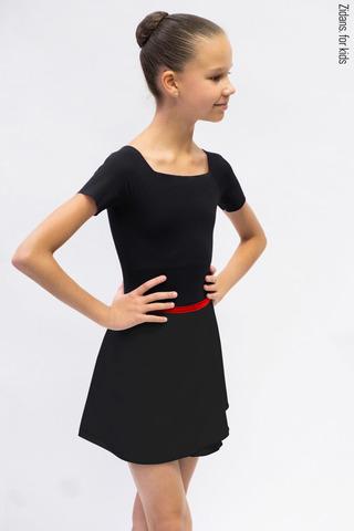 Детский комплект: купальник Футболка черный + юбка