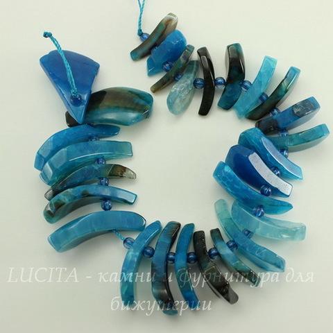 Бусина Агат (тониров), цвет - голубой, нить