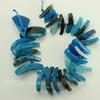Бусина Агат (тониров), цвет - голубой, 19-42 мм, нить