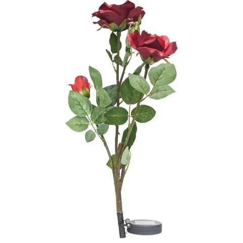 Светильник на солнечной батарее «Ветка розы», красный, 3 LED (белый), H 80cм , PL308 (Feron)