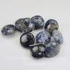 Бусина Содалит, плоская круглая, цвет - синий, 20х9 мм, нить