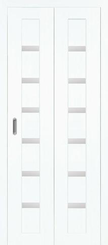 > Экошпон складная Optima Porte Турин 507.12  (2 полотна), стекло матовое, цвет белый монохром, остекленная