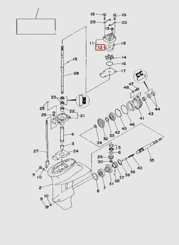 Стакан помпы  для лодочного мотора T15, OTH 9,9 SEA-PRO (16-12)