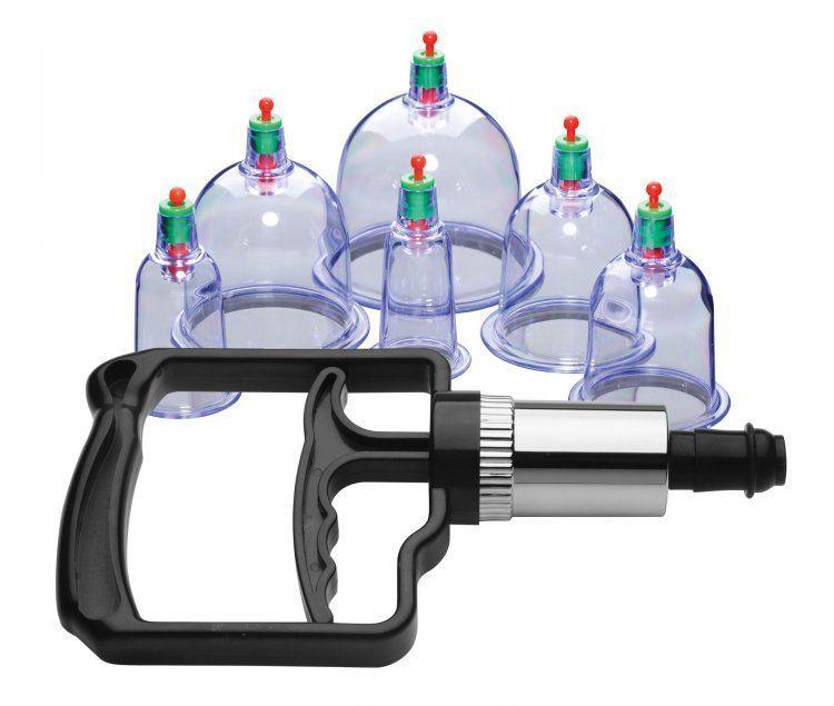 Помпы и стимуляторы для груди: Набор помп для стимуляции Sukshen 6 Piece Cupping Set with Acu-Points