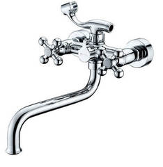 Смеситель для ванны и душа Kaiser (Кайзер) Carlson Lux 11255 двухвентильный с лейкой и шлангом, хром