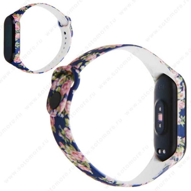 Ремешок для фитнес-браслет Xiaomi Mi Band 3/ 4 силиконовый с рисунком Вид 14