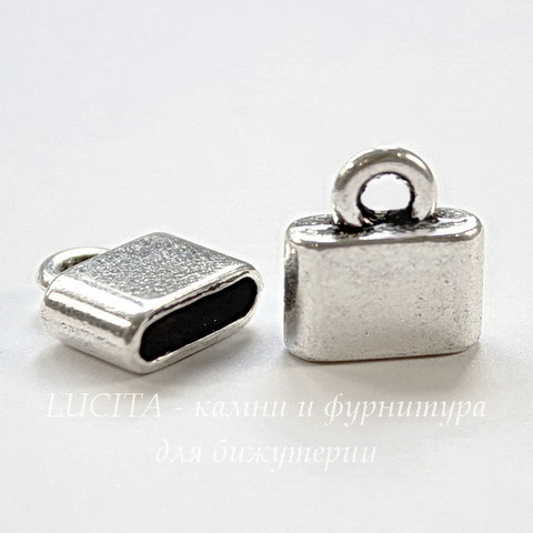 Концевик для плоского шнура 10х2,5 мм (цвет - античное серебро) 13х12х4 мм