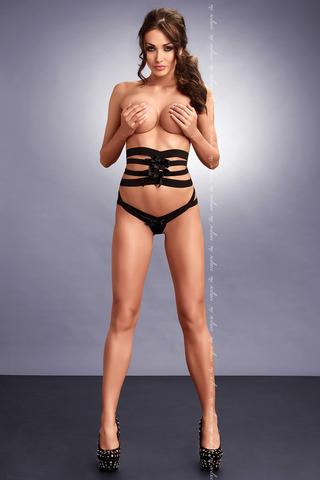 Черный эротический польский красивый комплект  Me Seduce из пояса стрэпы и трусиков