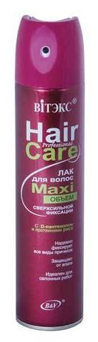 ЛАК для волос PROFESSIONAL HairCare МАXIобъём сверхсильной фиксации с D-пантенолом и протеинами риса