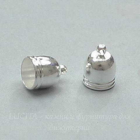 Концевик для шнура 8,5 мм (цвет - серебро) 14х10 мм