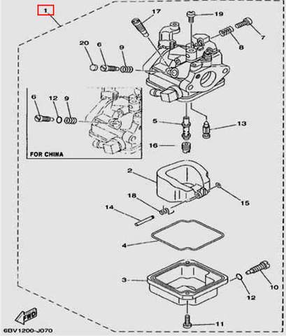 Карбюратор для лодочного мотора F5 Sea-PRO(7-1)